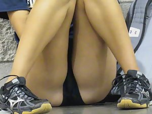 Hot schoolgirl sitting very seductively Picture 1
