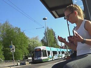 Geeky schoolgirl in public transport Picture 1