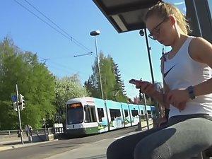 Geeky schoolgirl in public transport Picture 2