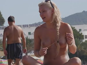 Viking girl is beautiful in topless