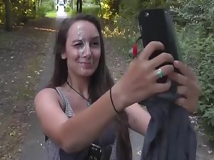 Big cum facial in middle of the park