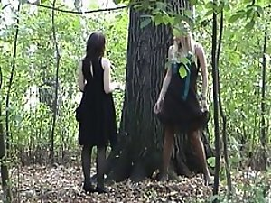 Sexy teen girls found a place to pee