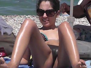 Wet bikini sunk inside shaved pussy