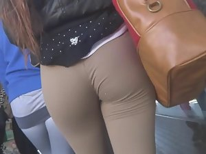 Tight beige pants are nice and clingy