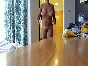 Sexy milf's groomed pussy gets spied