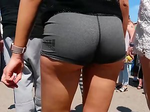 So close to her tight ass that he can smell it