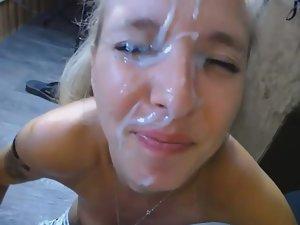 Blonde gets the biggest cum facial