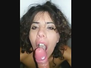 Blowjob and cum on her hair in public toilet