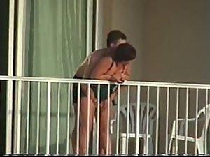 Voyeur caught them fuck on the balcony