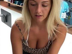 Beautiful big tits of a blonde thot