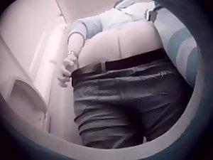 Hidden camera in the portable toilet