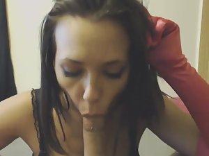 Busty babe gets cum on pierced nipples