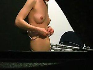 Sister's small boobs on hidden camera