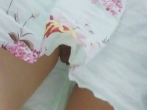Yummy pussy caught under skirt