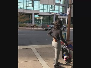 Fit black milf stalked on street Picture 2