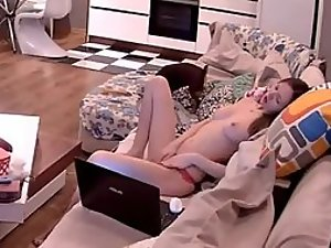 Bored girl watches some porn
