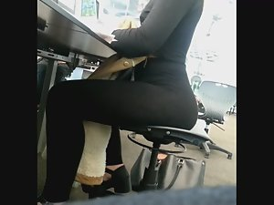 Big butt melts on the chair Picture 1
