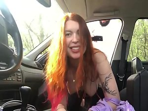 Alternative chubby redhead has sex in car