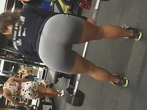 Pussy bulge of strong girl in the gym