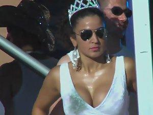 Rave queen's nipple slip