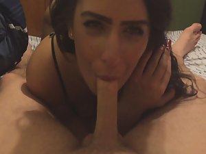 Silly girl sucks a limp dick