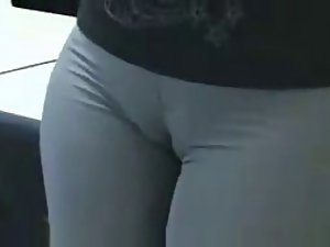 Cameltoe caught in the office