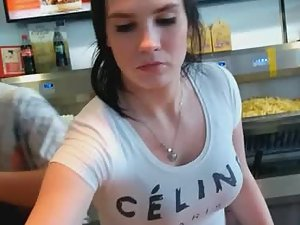 Hottie with big tits works at fast food