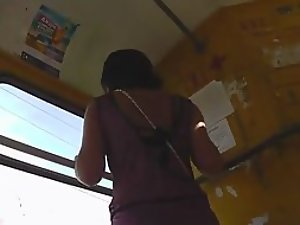 Peeping under her hot skirt in a tram