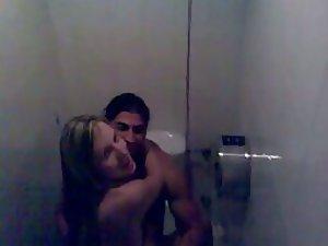 Voyeur interrupted their sex in a toilet