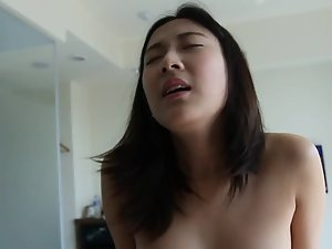 Small asian dick can't last long inside hot pussy