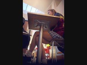 Upskirt of schoolgirl in school uniform Picture 3