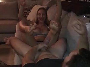 Amazing footjob on the sofa