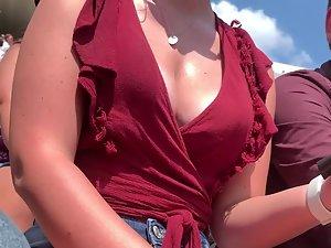 Sweaty big boobs shining in the sun