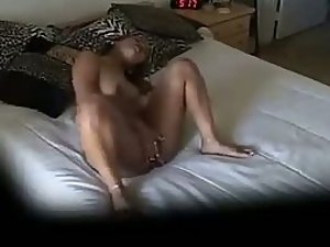 Curvy ebony girl spied while masturbating