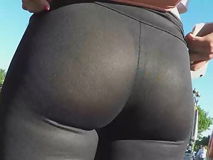 Sheer leggings reveal her thong