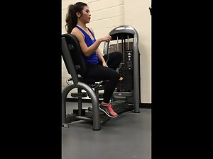 Spying on thong and hot round ass in gym Picture 2
