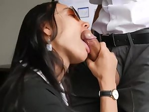 Asian girl gives pleasure with all of her body