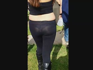See thru tights reveal a hot thong