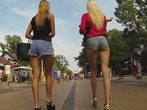 Elite tall girls walking together