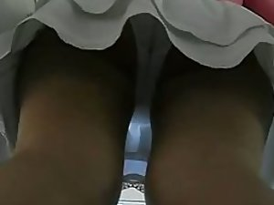 Peeking on a sexy girl's panties and butt