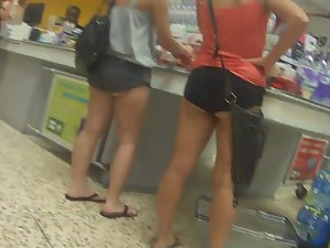 Sloppy ass falls out of small shorts
