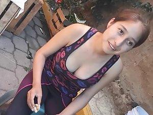 Big tits look tastier than fruit she sells