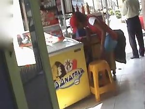 Upskirt of an ice cream lady
