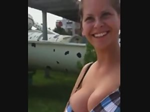Talking with silly girl while her big tits are bursting out