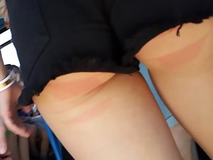 Tight ass gets red marks from the bench