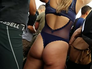 Sexy rave girl on a big party