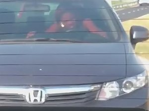 Woman rides dick during car ride