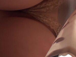 Sexy upskirt under a conservative dress