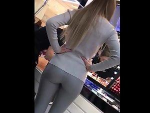 Sexy body of hot girl in shiny leggings