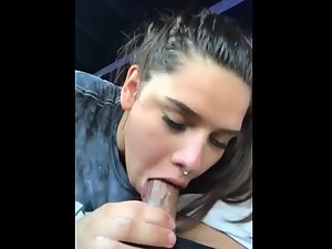 White girl give hot blowjob to a young black cock